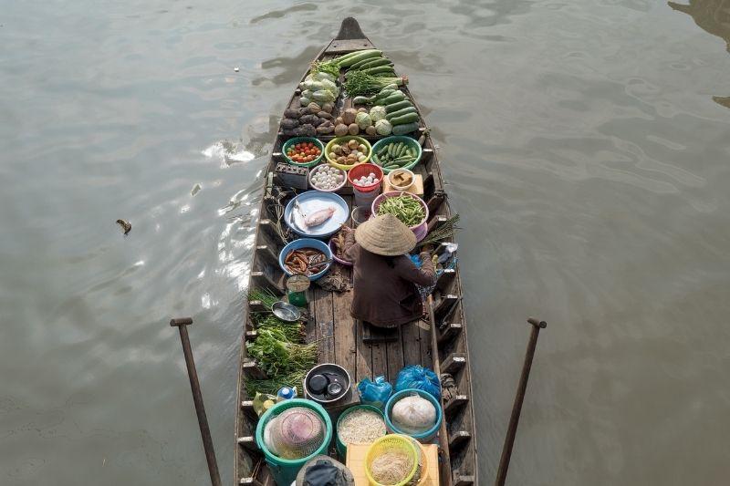 Puesto del mercado de Cai Rang